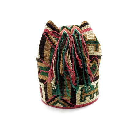 Side view of Shirley Wayuu Mochila Bag with a beautiful design using the following colors: Dark-Green, Dark-Pink, Light-Brown and Dark-Brown.