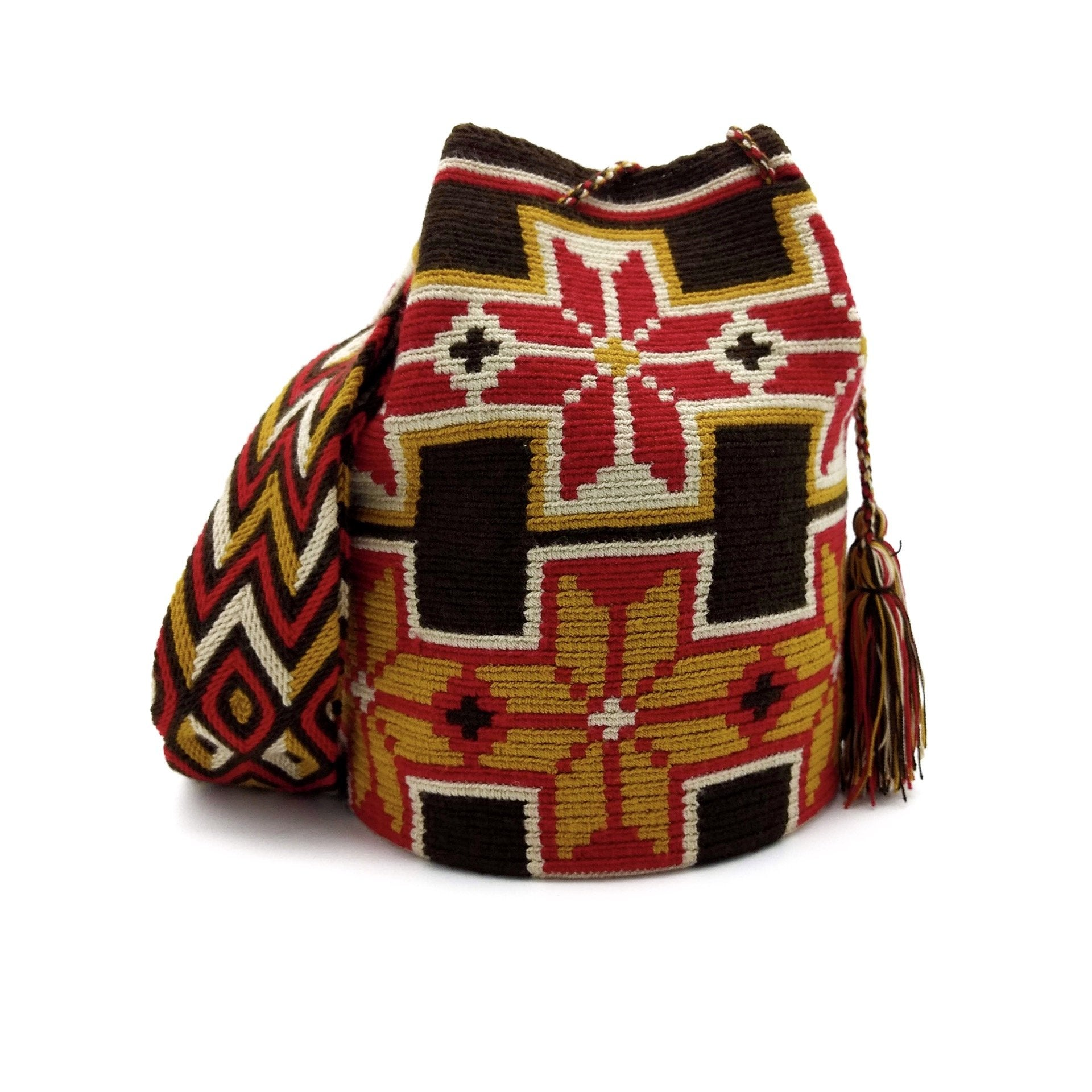 Front view of a beautiful Wayuu Mochila Bag with a great combination of spicy colors such as Amber, Red, Beige, and Dark-Brown.