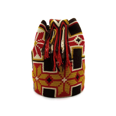 Side view of a beautiful Wayuu Mochila Bag with a great combination of spicy colors such as Amber, Red, Beige, and Dark-Brown.