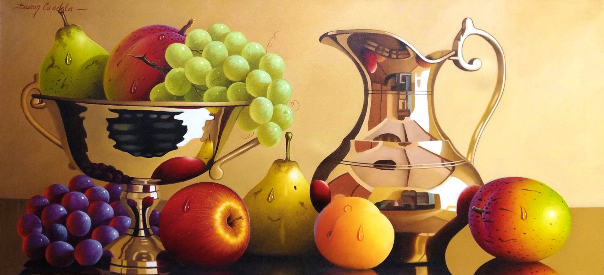 Original Still Life Oil Painting on Canvas depicting fruits, a bronze jug and bowl.