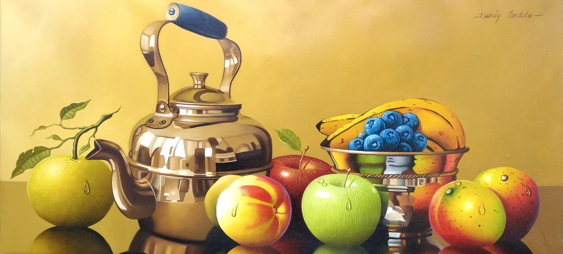 Original Still Life Oil Painting on Canvas depicting fruits, a tea pot and bowl.