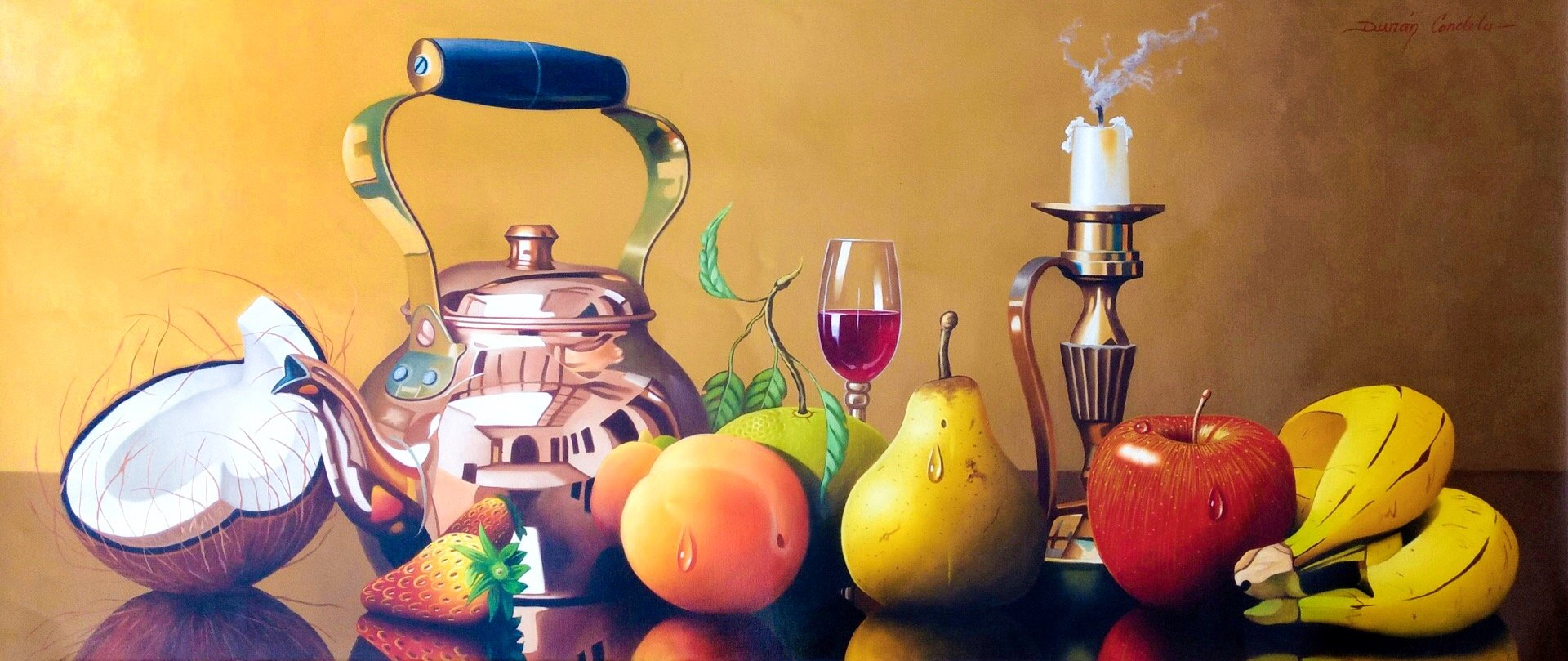 Original Still Life Oil Painting on Canvas depicting fruits, a bronze teapot, wine glass, and a candle.