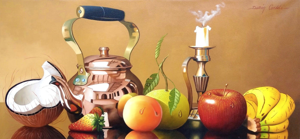 Fruits, Bronze Teapot, and Candle- Still Life - Original Oil Painting on Canvas