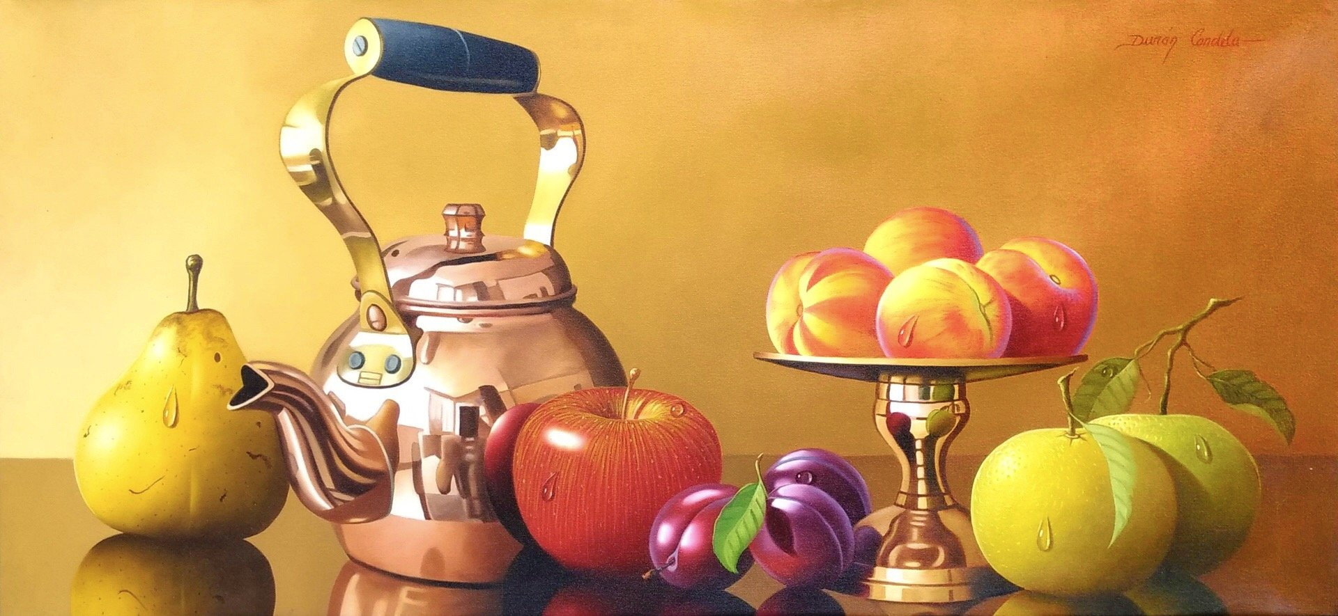 Original Still Life Oil Painting on Canvas depicting fruits, a bronze jug and decorative bowl.