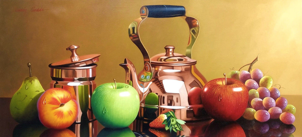 Original Still Life Oil Painting on Canvas depicting fruits, a bronze teapot and sugar bowl.