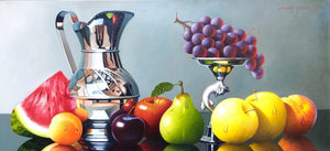 Original Still Life Oil Painting on Canvas depicting fruits, a silver jug and bowl.