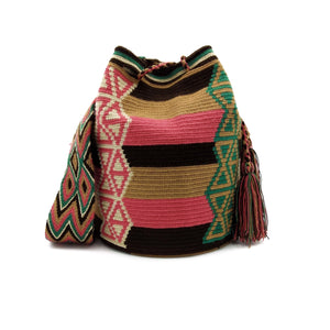 Front view of a beautiful Wayuu Mochila Bag with an awesome pattern in colors Beige, Emerald-Green, Brown, Dark-Brown, and Blush-Pink.