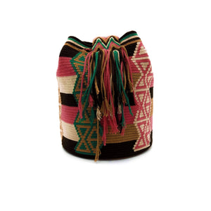 Side view of a beautiful Wayuu Mochila Bag with an awesome pattern in colors Beige, Emerald-Green, Brown, Dark-Brown, and Blush-Pink.