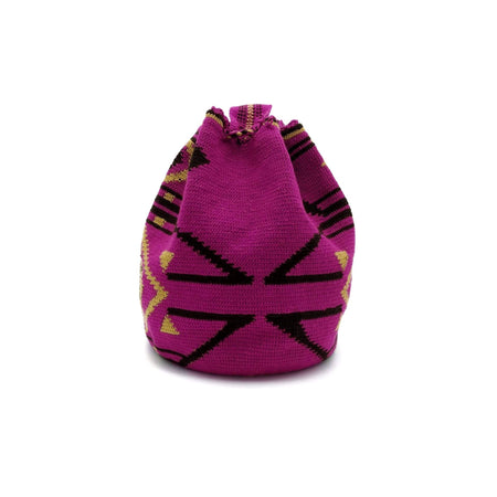Back view of one-Thread Wayuu Mochila Bag with a beautiful pattern in colors: Red-Violet, Light-Brown, and Brown.