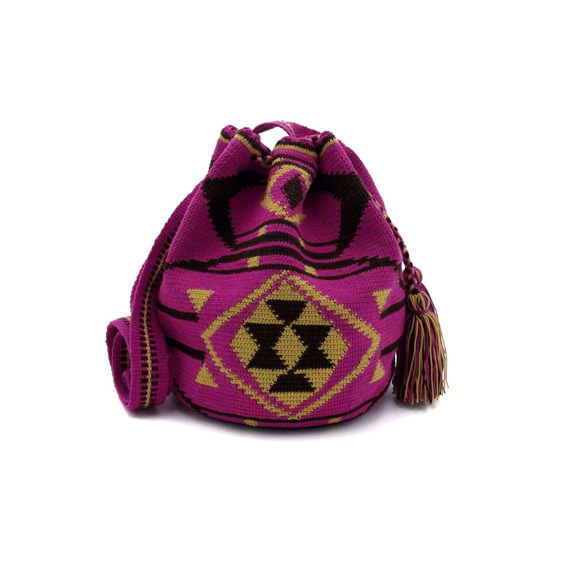 Front view of one-Thread Wayuu Mochila Bag with a beautiful pattern in colors: Red-Violet, Light-Brown, and Brown.