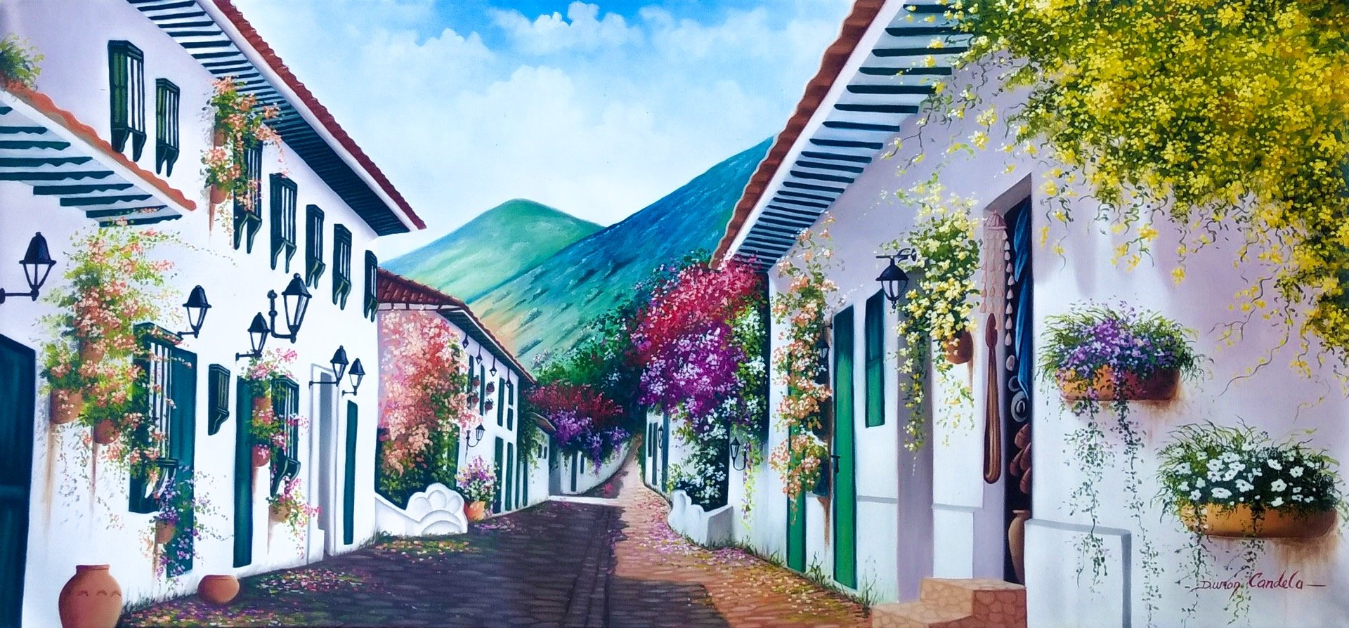 Original Oil Painting on Canvas depicting a colorful colonial street of Villa de Leyva, Colombia
