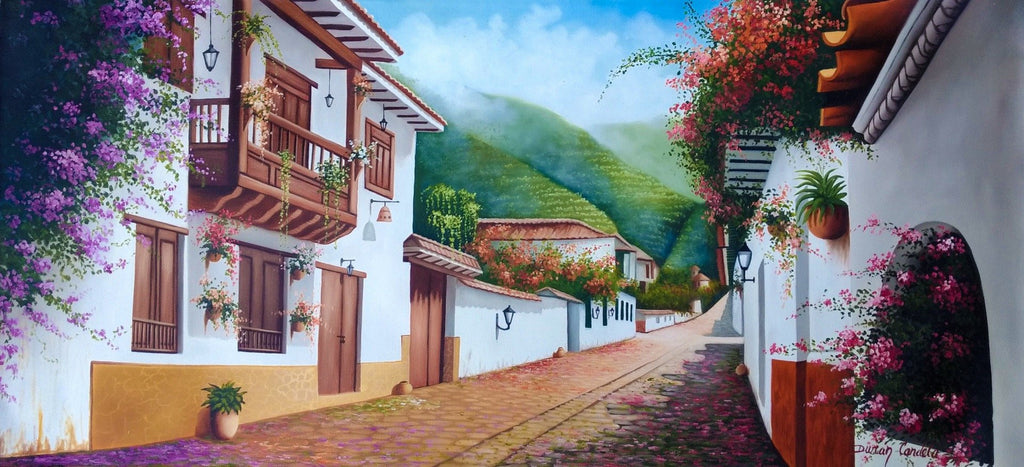 Original Oil Painting on Canvas depicting a cobblestone street of a little Colombian town.