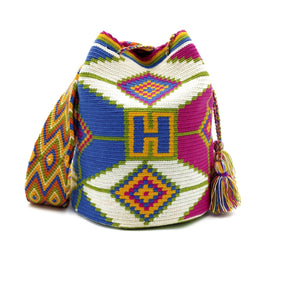 Front view of Unicorn Wayuu Mochila Bag with a vibrant combination of unicorn-like colors such as Beige, Green, Dark-Yellow, Rubine-Red, and Azure (Bright-Sky-Blue).