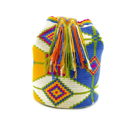 Side view of Unicorn Wayuu Mochila Bag with a vibrant combination of unicorn-like colors such as Beige, Green, Dark-Yellow, Rubine-Red, and Azure (Bright-Sky-Blue).