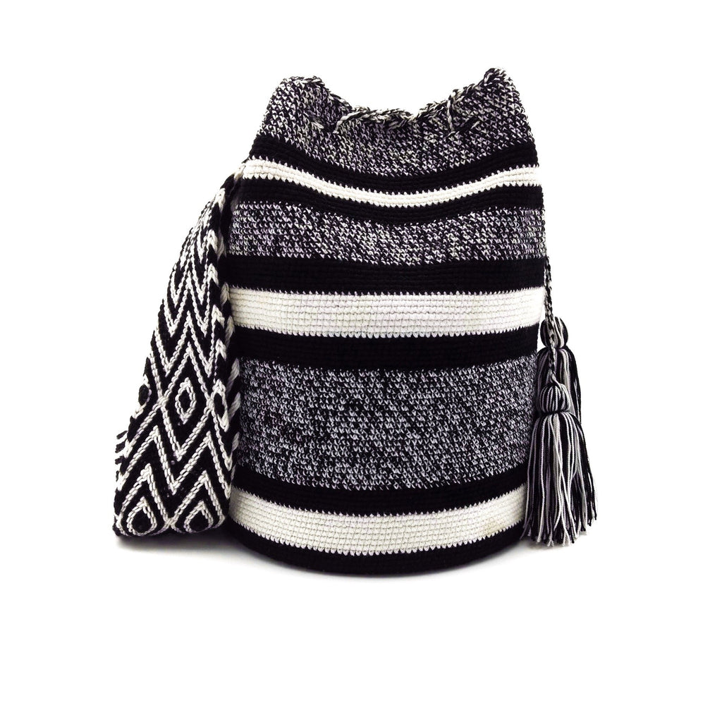 Front view of Zebra Dream Wayuu Mochila Bag with a balanced combination of black and white stripes.