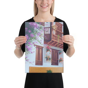 Street and House with Balcony Canvas Print - Left Side