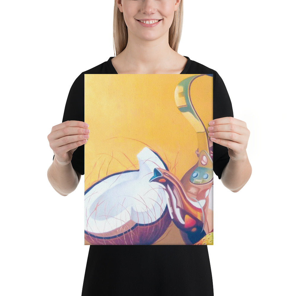 Bronze Teapot, Wine Glass and Candle Canvas Print - Left Side