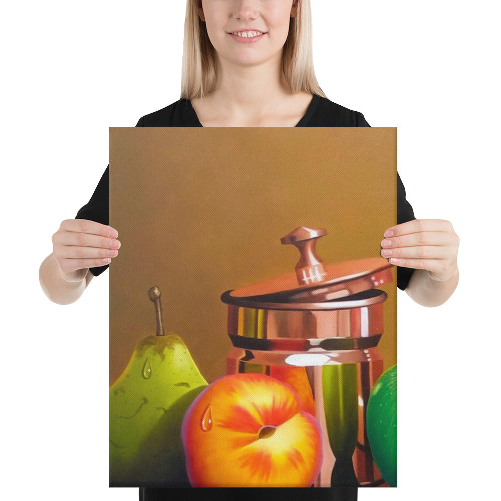 Bronze Teapot and Sugar Bowl Canvas Print - Left Side