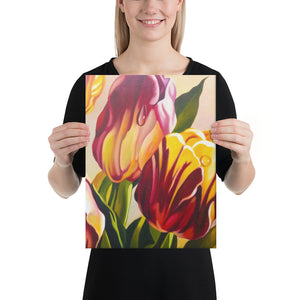 Pink and Yellow Tulips Canvas Print - Right Side