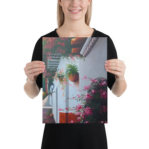 Street and House with Balcony Canvas Print - Right Side
