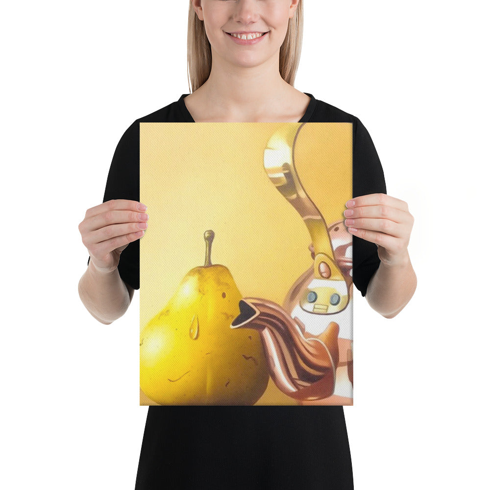 Bronze Teapot and Peaches Canvas Print - Left Side