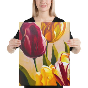 Pink and Yellow Tulips Canvas Print - Left Side