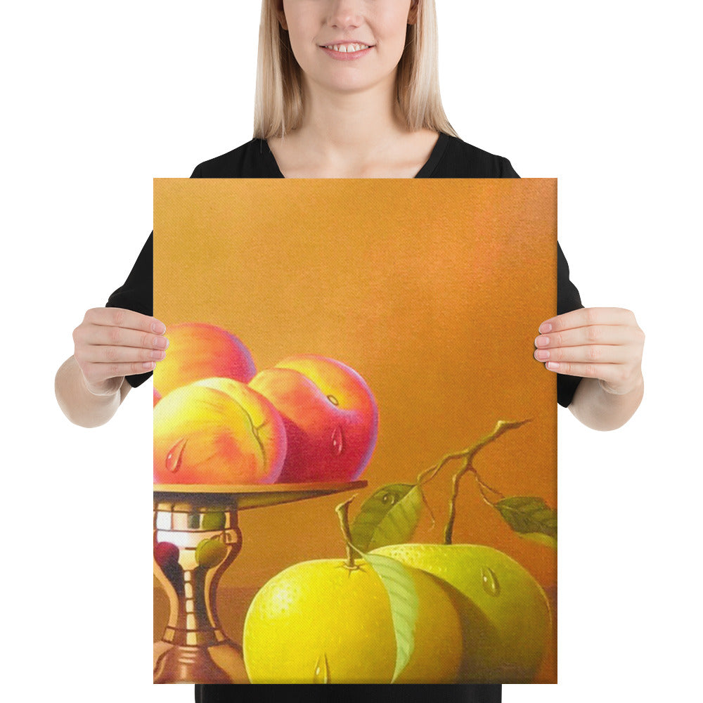 Bronze Teapot and Peaches Canvas Print - Right Side