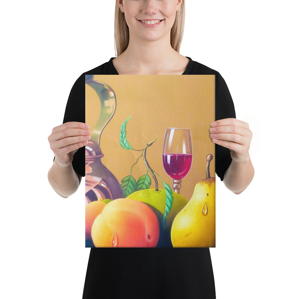 Bronze Teapot, Wine Glass and Candle Canvas Print - Middle