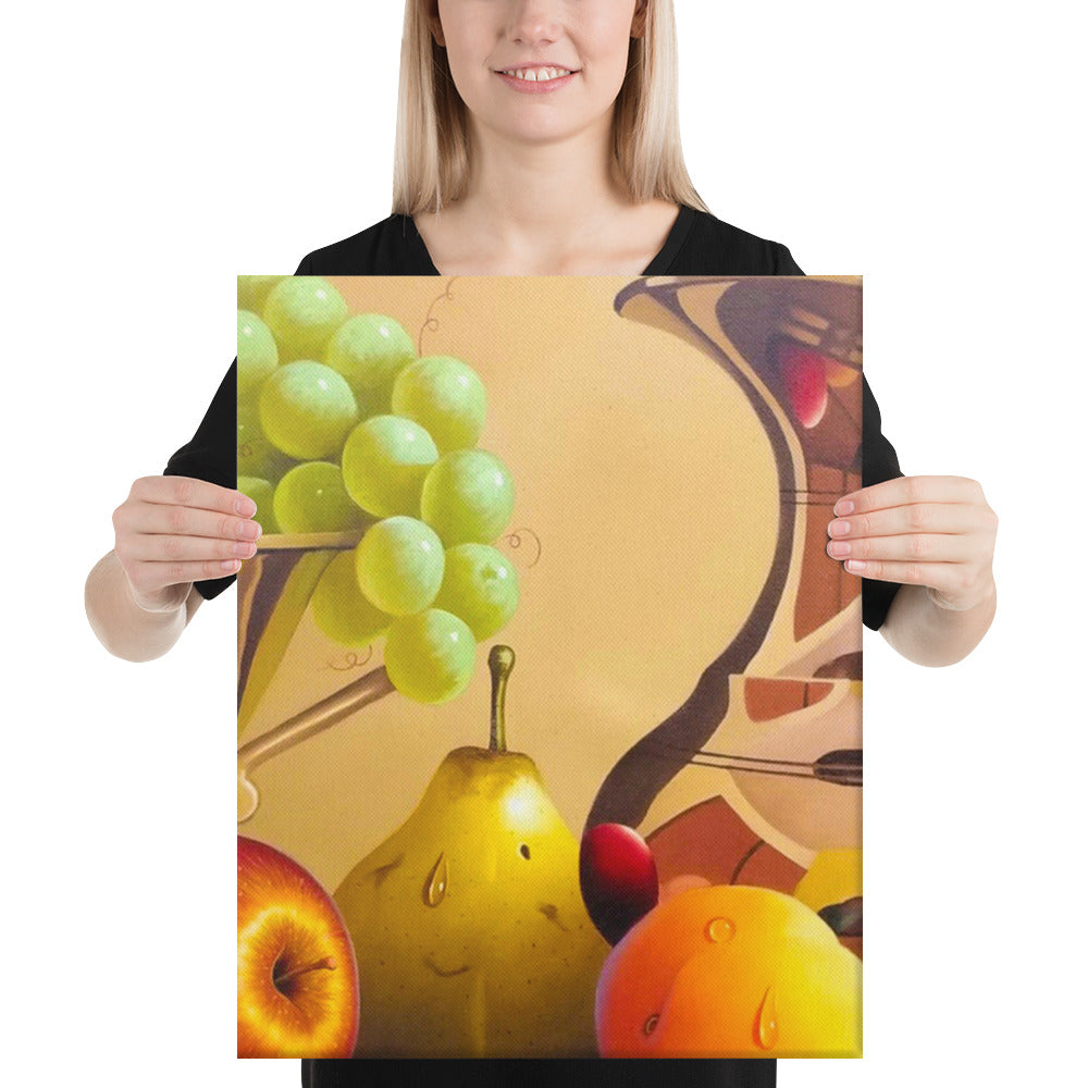 Bronze Jug and Fruit Bowl Canvas Print - Middle