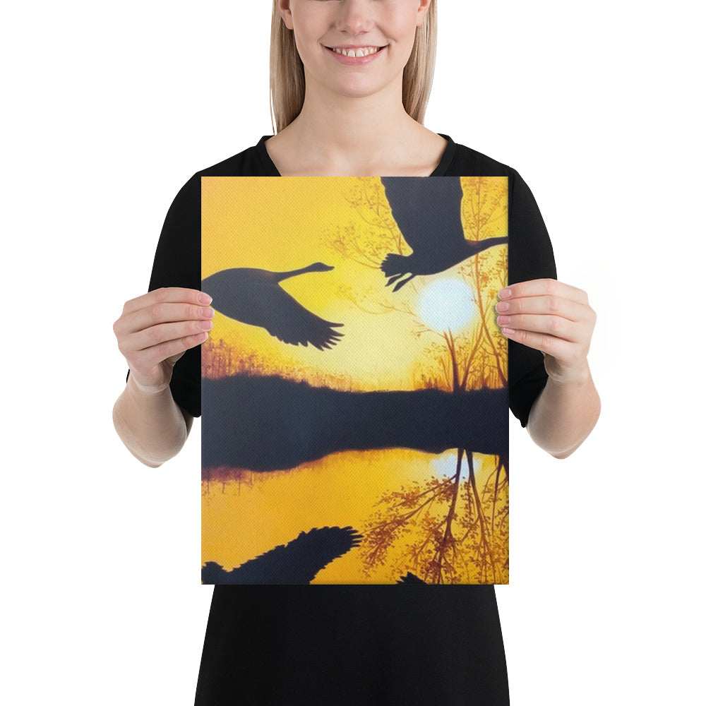 Ducks at Sunset Canvas Print - Middle