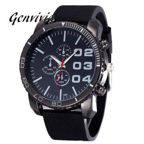 07c7ad6f2f6 GENVIVIA 2017 watches for Mens Stylish Luxury Huge Big Dial Silicone Watches  Quartz WristWatch Sports watch