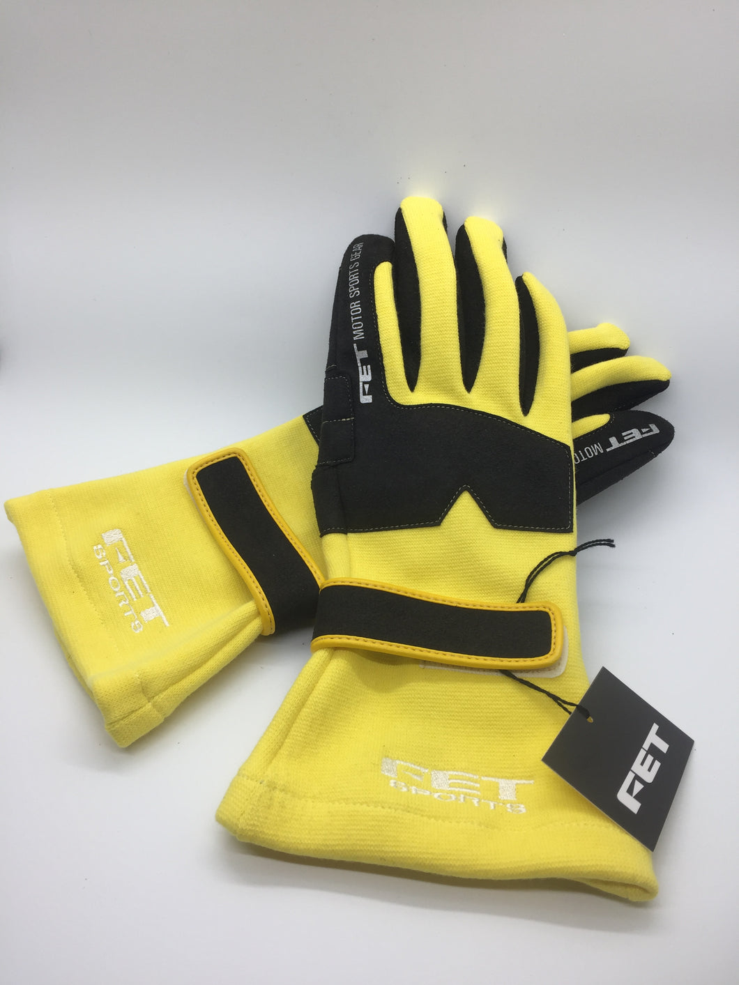 New FET 3D Standard Weight Racing Gloves Yellow And Black, Medium
