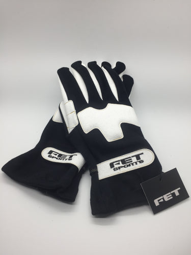 New FET 3D Light Weight Racing Gloves Black And White, Large