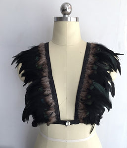 Goth Feather Harness/Body Cage