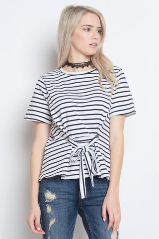 Tie Front Striped Top - The Lovely Fashion