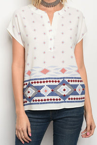Border Tribal Tunic Top - The Lovely Fashion
