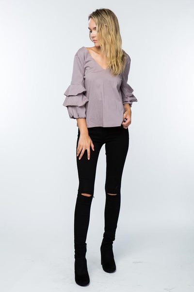 V-Neck Top With Ruffled Sleeves - The Lovely Fashion