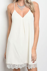 Lace Hem Slip Dress - The Lovely Fashion