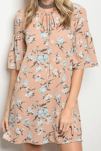Short Ruffle Sleeve Floral Dress - The Lovely Fashion