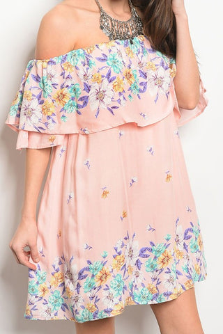 Off Shoulder Floral Dress - The Lovely Fashion