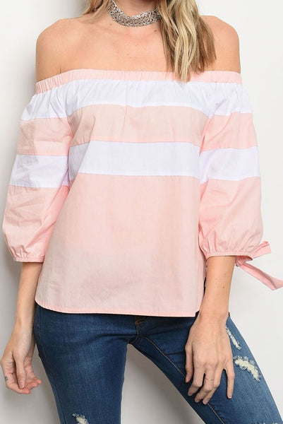 Off Shoulder Poplin Blouse Top - The Lovely Fashion