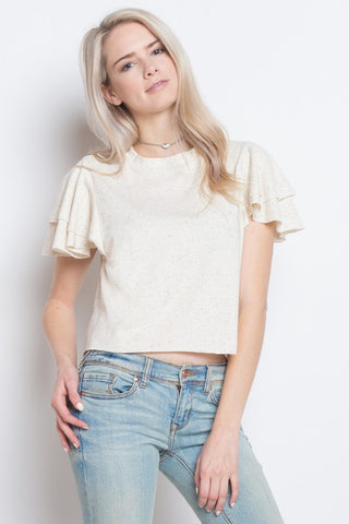 Flutter Sleeve Short Detail Top - The Lovely Fashion