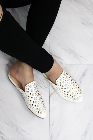 Pearl Embellished Mules - The Lovely Fashion