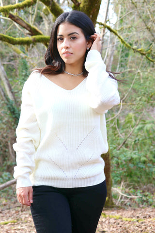 Knit Sweater With Lace Up Back
