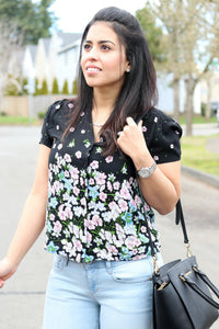 Floral Button Down Top - The Lovely Fashion