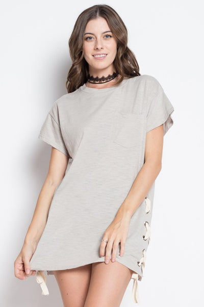 The Lace Up Shirt Dress - Grey - The Lovely Fashion