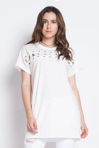 Lace On Top Shirt - The Lovely Fashion