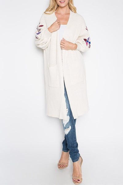 Embroidered Sleeve Cardigan - The Lovely Fashion