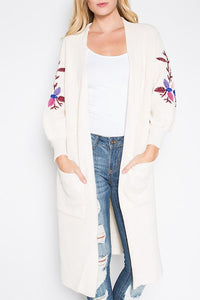 Embroidered Sleeve Cardigan