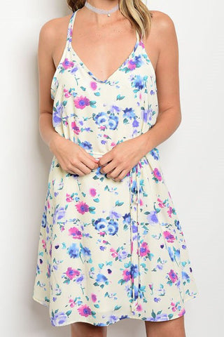 Spaghetti Strap V-Neck Floral Dress - The Lovely Fashion